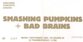 "7 septembre 1993 Smashing Pumpkins, Bad Brains à Villeurbanne ""le Transbordeur"""