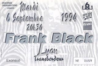 """6 septembre 1994 Frank Black à Villeurbanne """"le Transbordeur"""""""