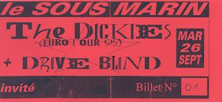 "26 septembre 1995 The Dickies, Drive Blind à Vitrolles ""le Sous Marin"""