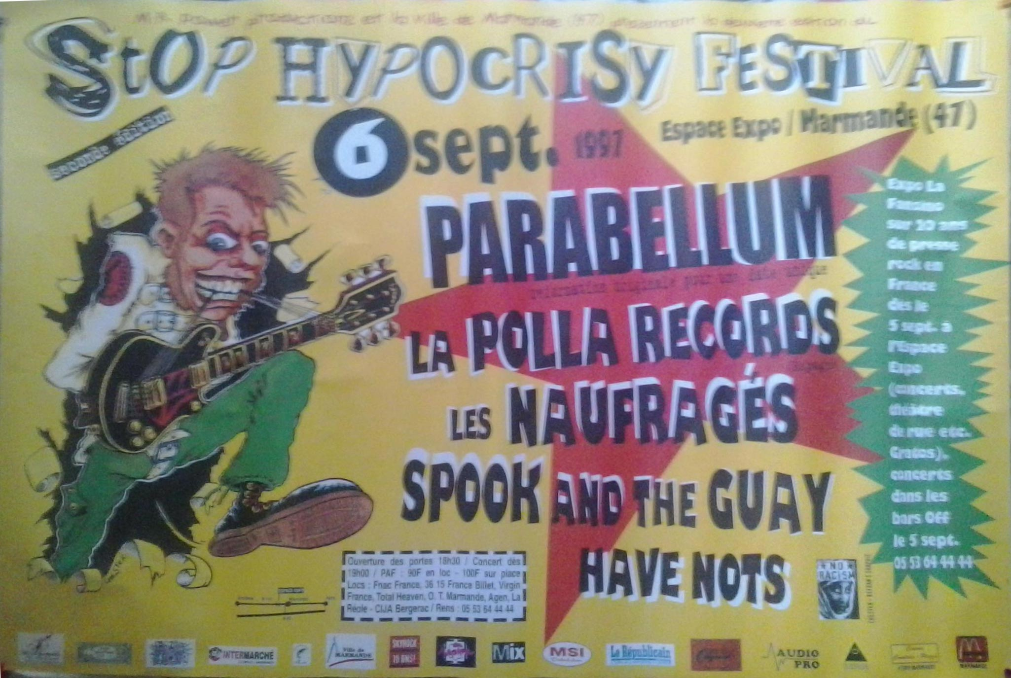 "6 septembre 1997 Parabellum, La Polla Records, les Naufragés, Spook and the Guay, Have Nots à Marmande ""Espcace Expo"""