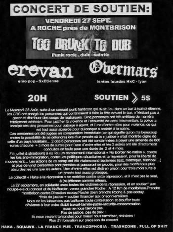 27 septembre 2002 Too Drunk To Dub, Overmars, Erevan à Roche-en-Forez