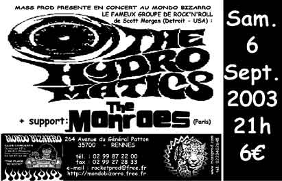 "6 septembre 2003 The Hydromatics, The Monroes à Rennes ""Mondo Bizarro"""