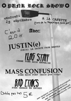 """15 septembre 2006 Bad Ethics, Mass Confusion, Flag Staff, Justin(e) au Havre """"la Cafette"""""""