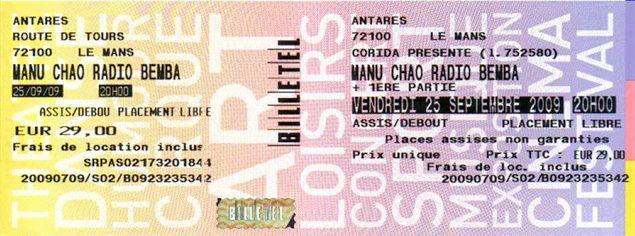 """25 septembre 2009 Manu Chao au Mans """"Antares"""""""