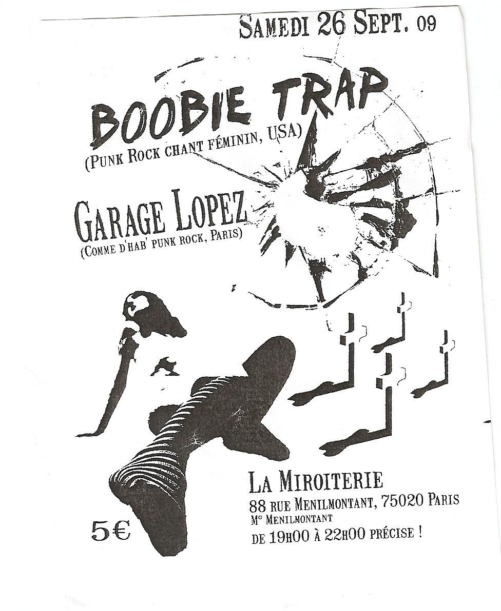 """26 septembre 2009 Bobbie Trap, Garage Lopez à Paris """"La Miroiterie"""""""