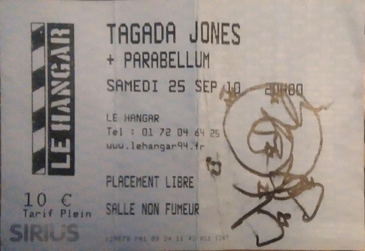"""25 septembre 2010 Tagada Jones, Parabellum à Ivry Sur Seine """"le Hangar"""""""