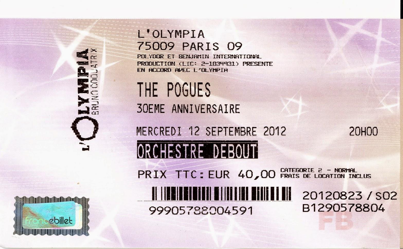 """12 septembre 2012 The Pogues à Paris """"Olympia"""""""