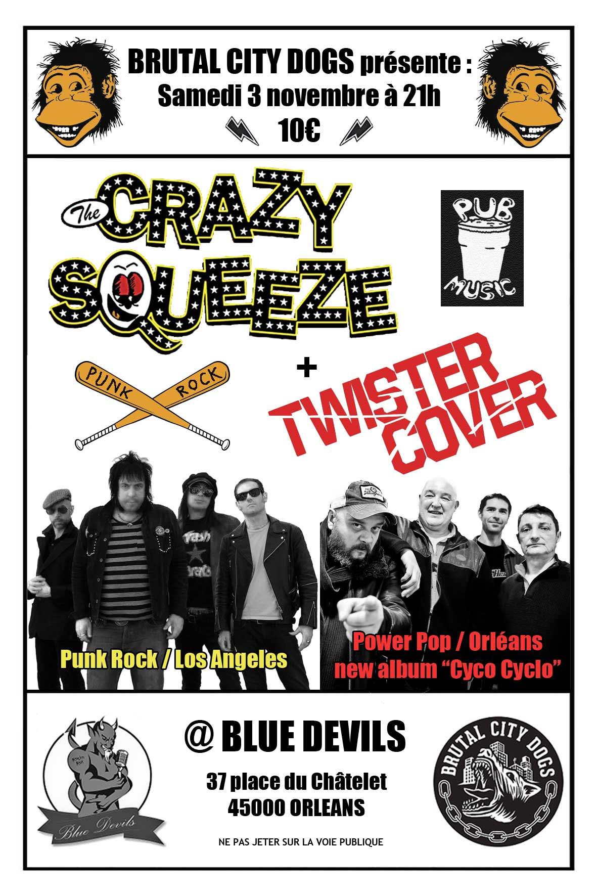 """3 novembre 2018 Crazy Squeeze, Twister Cover à Orléans """"Blue Devils"""""""
