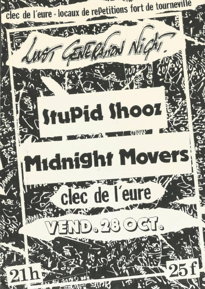 "28 octobre 1988 Stupid Shooz, Midnight Movers au Havre ""Clec de l'Eure"""