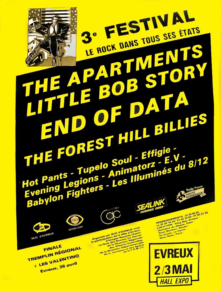 2 mai 1986 Hot Pants, Effigie, Evening Legends, Little Bob Story à Evreux « Hall Expo »