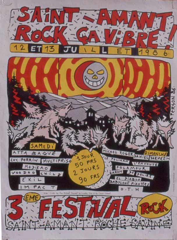 12 juillet 1986 Atta Baque, Luc Perrin, Multiprise, Medikao, Voodoo Child, Exil Impact à Saint Amant