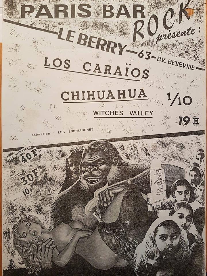 """1er octobre 1986 Los Carayos, Chihuahua, Witches Valley, les Endimanches à Paris """"le Berry"""""""