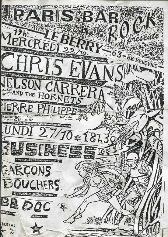 """22 octobre 1986 Chris Evans, Nelson Carrera and the Hornets, Pierre Philippe à Paris """"le Berry"""""""