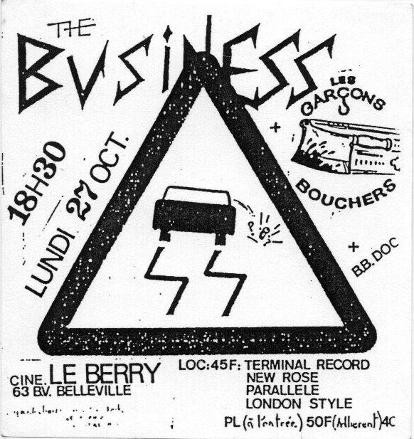 """27 octobre 1986 The Business, Les Garçons Bouchers, BB Doc à Paris """"le Berry"""""""