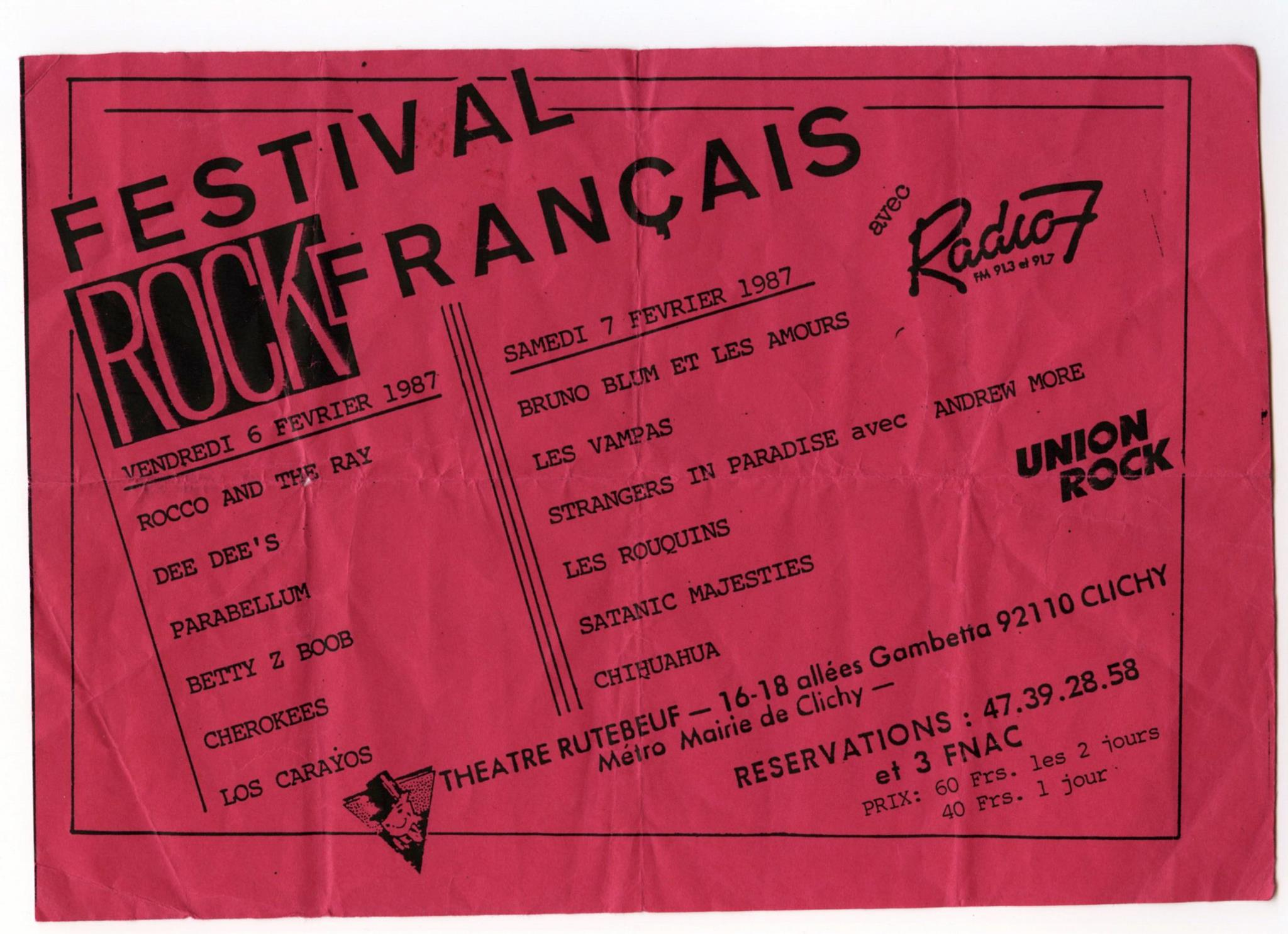"6 février 1987 Rocco And The Rays, Dee Dee's, Parabellum, Betty Z Boop, Cherokees, Los Caraios à Clichy ""Theatre Rutebeuf"""