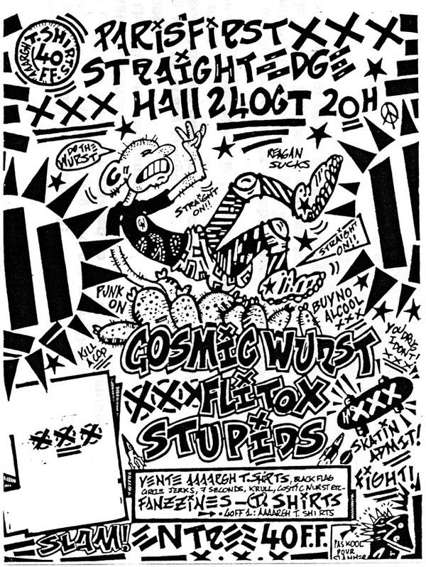 24 octobre 1987 Cosmic Wurst, Flitox, Stupids à Paris