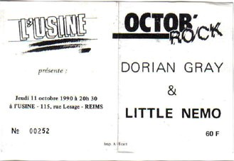 "11 octobre 1990 Dorian Gray , Little Nemo à Reims ""L'usine"""