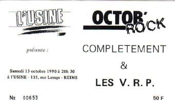 """13 octobre 1990 Complètements, Les VRP à Reims """"l'Usine"""""""