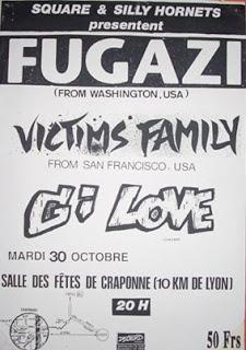 """30 octobre 1990 Fugazi, Victims Family, GI Love à Craponne """"Salle des Fetes"""""""