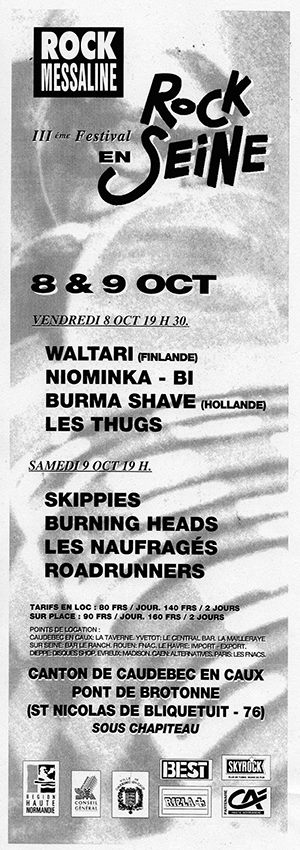 9 octobre 1993 Skippies, Burning Heads, les Naufragés, Roadrunners à Saint Nicolas de Bliquetuit