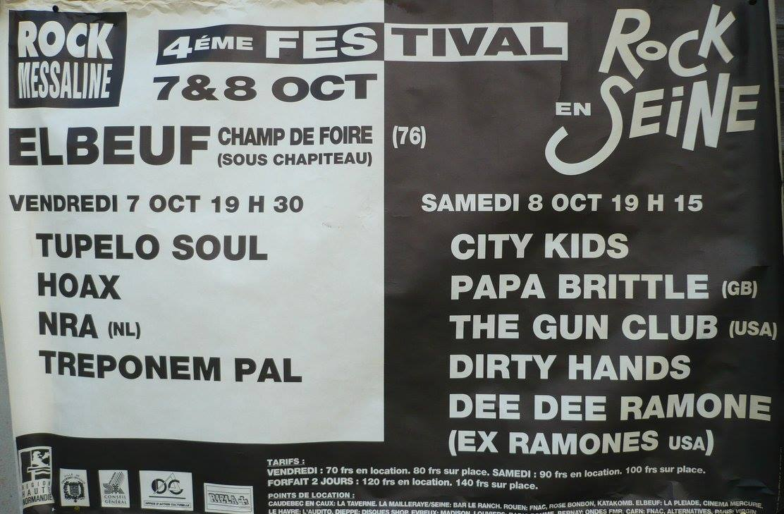 "8 octobre 1994 Dee Dee Ramone, Dirty Hands, Gun Club, Papa Brittle, City Kids à Elbeuf ""Champ de Foire"""