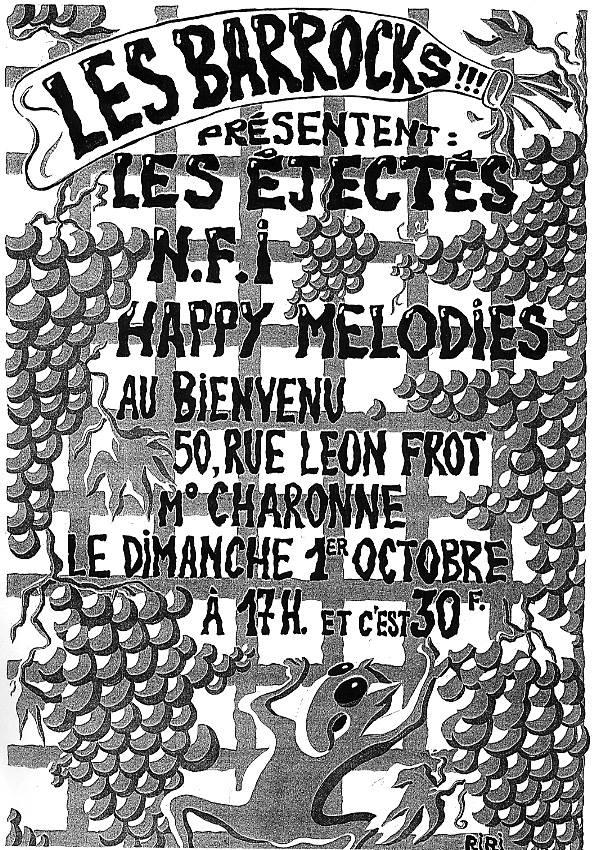 """1er octobre 1995 Les Ejectés, NFI, Happy Melodies à Paris """"Au Bienvenu"""""""