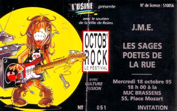 """18 octobre 1995 JME, Les Sages Poètes de la Rue à Reims """"MJC Brassens"""""""