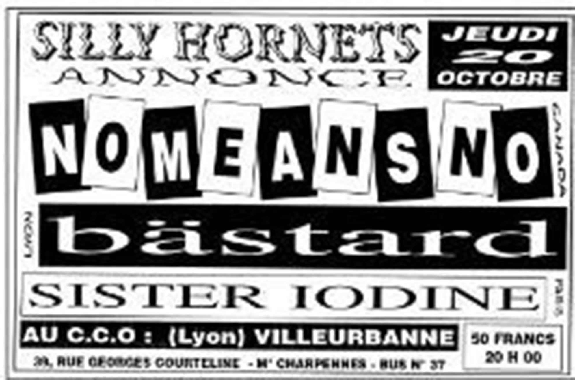 "20 Octobre 1995 NoMeansNo, Sister Iodine, Bastard à Villeurbanne ""CCO"""