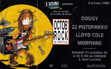 """21 octobre 1995 Dodgy, 22 pisterpikko, Lloyd Cole, Morphine Reims """"le Cirque"""""""