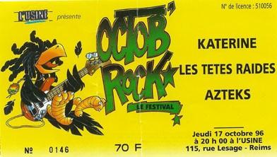 """17 octobre1996 Katerine, Les Têtes Raides, Azteks à Reims """"l'Usine"""""""
