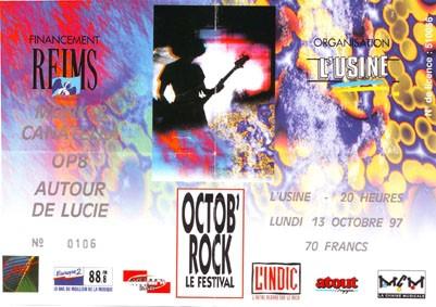 """13 octobre 1997 Autour de Lucie, OP8, Monk & Canatella à Reims """"L'usine"""""""