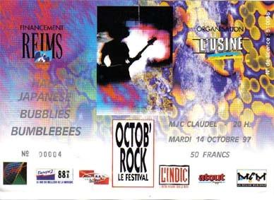 """14 Octobre 1997 Half Japanese, Bubblies, Bumblebees à Reims """"MJC Claudel"""""""