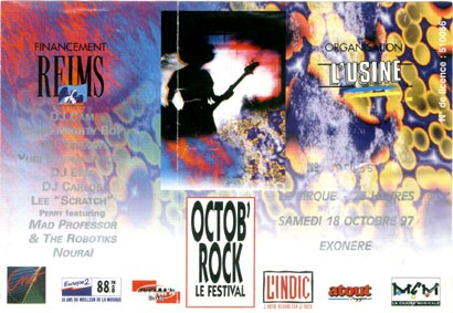 "18 octobre 1997 Ultimate Party, DJ Cam, DJ Yeloow, Chris Mighty Bop, DJs Eric et Carlos, Yuri Buenaventura, Lee Scratch Perry featuring Mad Professor, Nouraï à Reims ""le Cirque"""