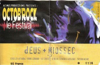 """21 Octobre 1999 dEUS, Miossec, LW à Reims """"le Cirque"""""""