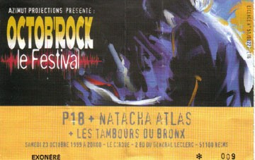 """23 octobre 1999 P18, Natacha Atlas, Les Tambours du Bronx à Reims """"le Cirque"""""""
