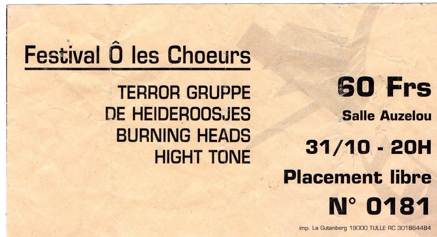 """31 Octobre 2000 Terror Gruppe, De Hederoosjes, Burning Heads, High Tone à Tulle """"Salle Auzelou"""""""
