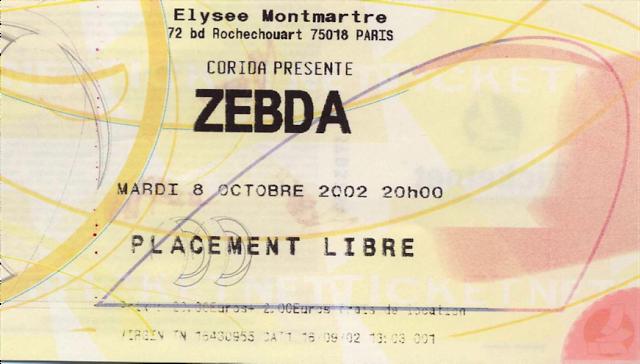 """8 octobre 2002 Zebda à Paris """"Elysée Montmartre"""""""