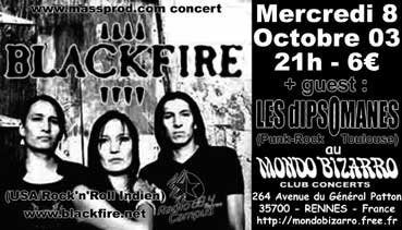 """8 Octobre 2003 Les Dipsomanes, Blackfire à Rennes """"Mondo Bizarro"""""""