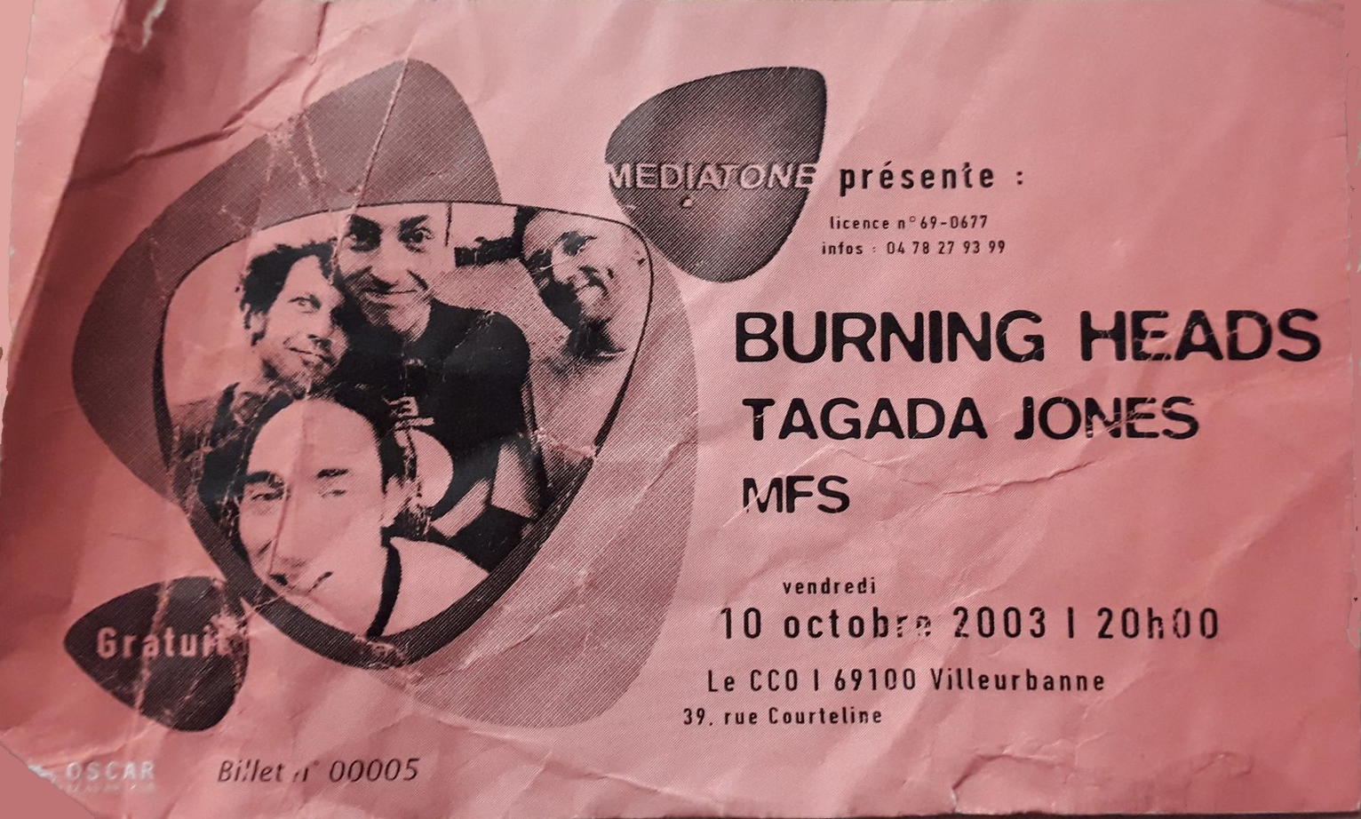"10 octobre 2003 Burning Heads, Tagada Jones, MFS à Villeurbanne ""CCO"""