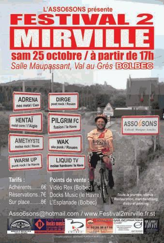 "25 octobre 2003 Adrena, Hentai, Amethyste, Warm Up, Dirige, Pilgrim FC, Wak, Liquid TV à Mirville ""Salle Maupassant"""