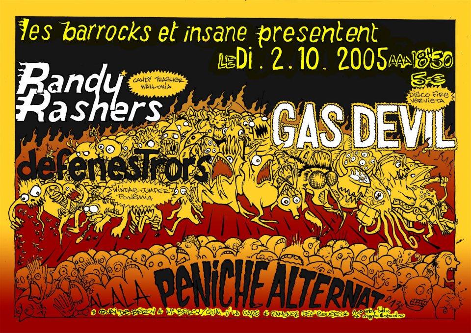 """2 octobre 2005 Randy Rashers, Defenestrors, Gas Devil à Paris """"la Peniche Alternat"""""""