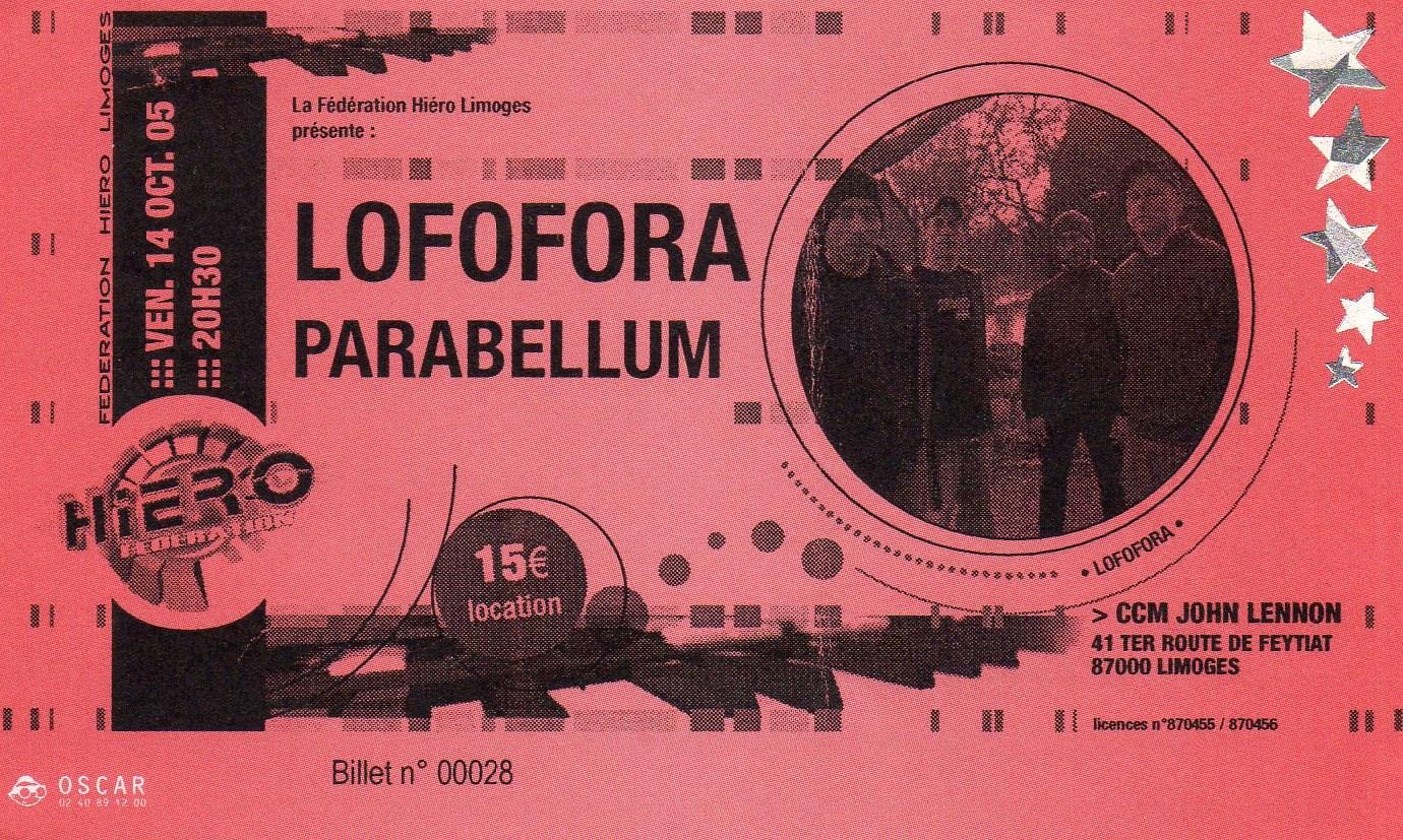 """14 octobre 2005 Lofofora, Parabellum à Limoges """"CCM John Lennon"""""""