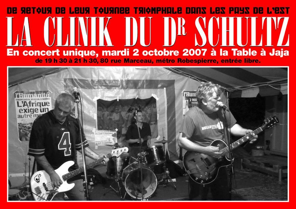 """2 octobre 2007 La Clinik du Doctor Schultz à Montreuil """"la Table à Jaja"""""""
