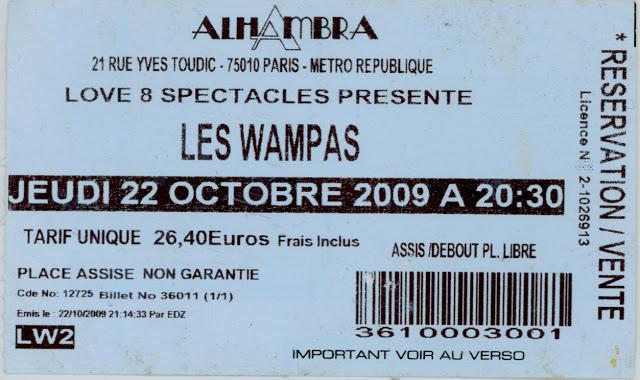"""22 octobre 2009 les Wampas à Paris """"Alhambra"""""""