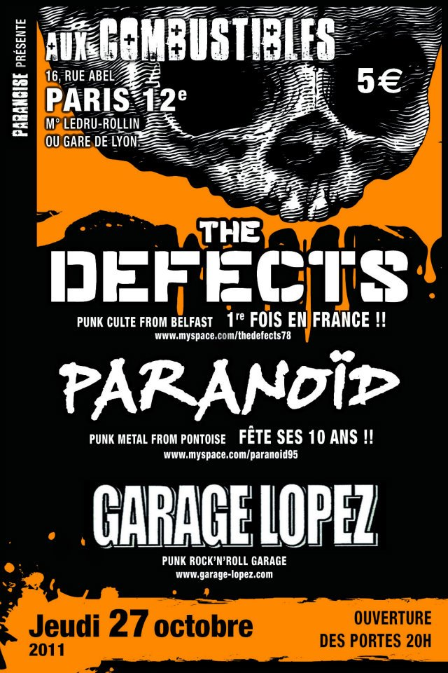 "27 octobre 2001 The Defects, Paranoid, Garage Lopez, DJ Seultoo à Paris ""Les Combustibles"""