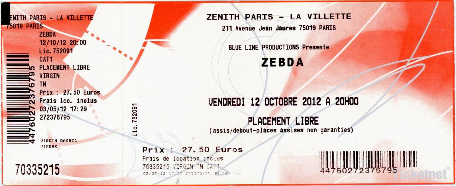 "12 octobre 2012 Zebda à Paris ""Zenith"""
