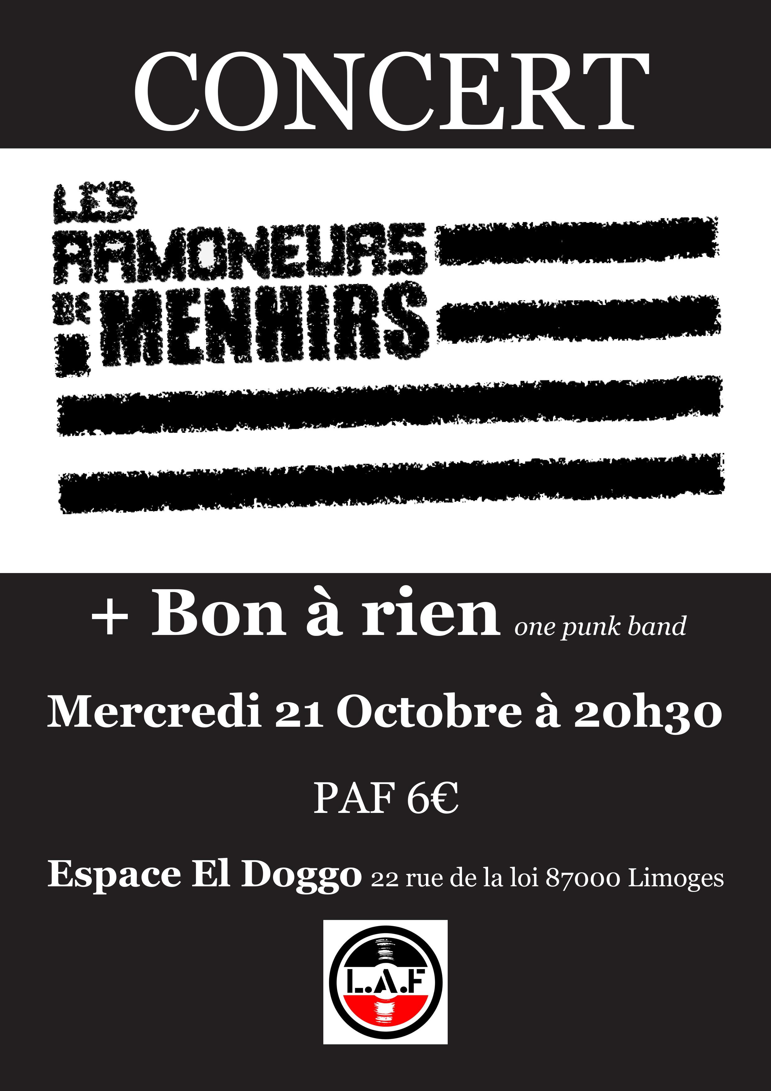 """21 octobre 2015 Les Ramoneurs de Menhirs, Bon a Rien à Limoges """"Espace el doggo"""""""