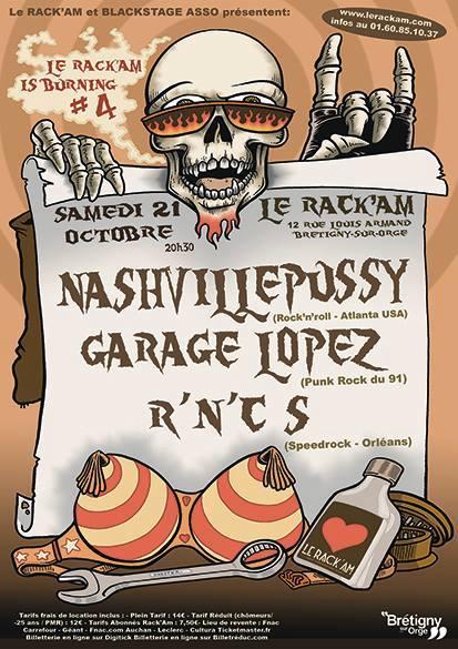 """21 octobre 2017 Nashville Pussy, Garage Lopez, Rnc's à Bretigny Sur Orge """"le Rack'am"""""""