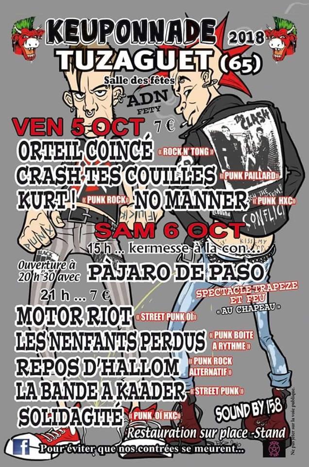 """5 octobre 2018 Orteil Coincé, Crash tes Couilles, Kurt, No Manner à Tuzaguet """"Salle des Fetes"""""""