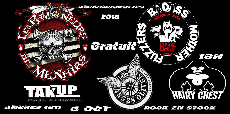 6 octobre 2018 Les Ramoneurs de Menhir, Fuzzers Badass Mother, Hairy Crest à Ambres